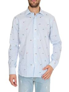 Etro - Striped shirt in light blue with fish
