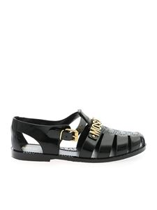 Moschino - Jelly black sandals with golden logo
