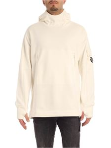 CP Company - Hooded white sweatshirt with front pocket