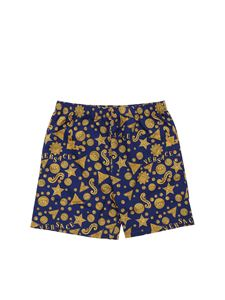 Versace Young - Boxer mare blu con stampa Barocco Wester
