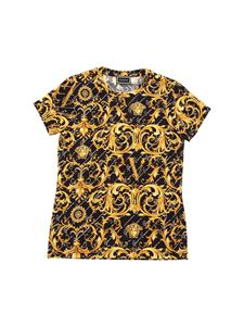 Versace Young - T-shirt nera stampa Barocco Signature