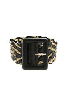 Orciani - Twine black leather belt with braided