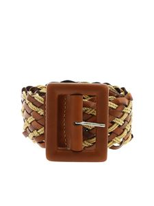 Orciani - Twine brown leather belt with braided