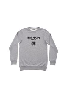 Balmain - Grey sweatshirt with black logo print
