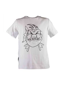 Stella McCartney Kids - T-shirt Funny Face Angry Fish bianca
