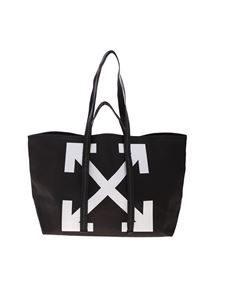 Off-White - Shopper Canva Commerciale Tote nera