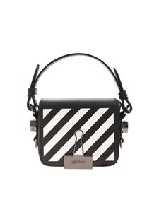 Off-White - Diag Baby Flap bag in white and black