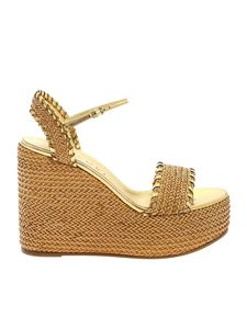Casadei - Raffia wedge sandals in leather color