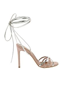 Paris Texas - Reptile print sandals in powder pink and silver
