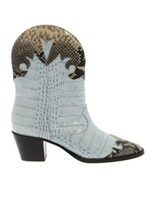 Paris Texas - Crocodile and python print boots in light blue