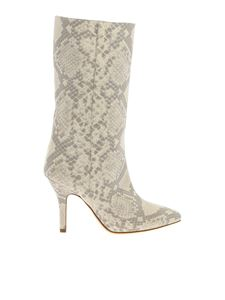 Paris Texas - Reptile print boots in ecrù