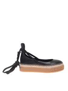 Prada - Lace-up ballerinas in black leather
