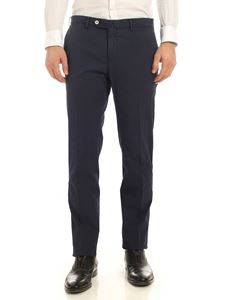 PT01 - Embossed cotton pants in blue