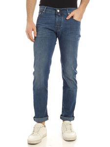 Jacob Cohën - Leather logo jeans in faded blue
