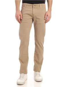 Jacob Cohën - Tone-on-tone logo pants in beige