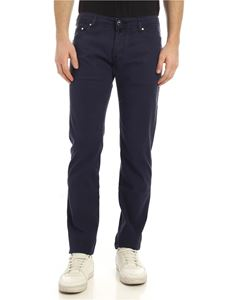 Jacob Cohën - Tone-on-tone logo pants in blue