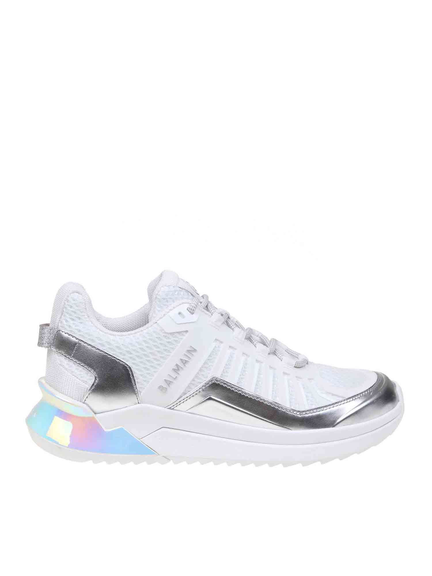 BALMAIN B-TRAIL SNEAKERS IN WHITE AND SILVER