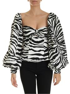 The Attico - Off-shoulder zebra print top in ivory color