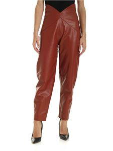 The Attico - Leather pants in cognac color