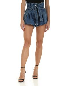 The Attico - Belted shorts in blue denim