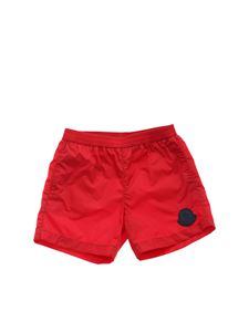 Moncler Jr - Branded swim trunks in red