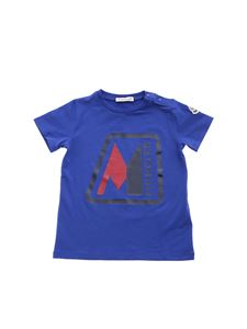 Moncler Jr - Blue and red logo printed T-shirt in bluette
