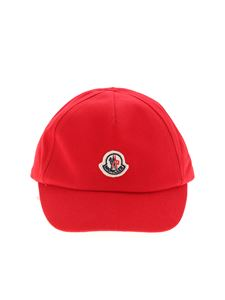 Moncler Jr - Cappello da baseball rosso con patch logo