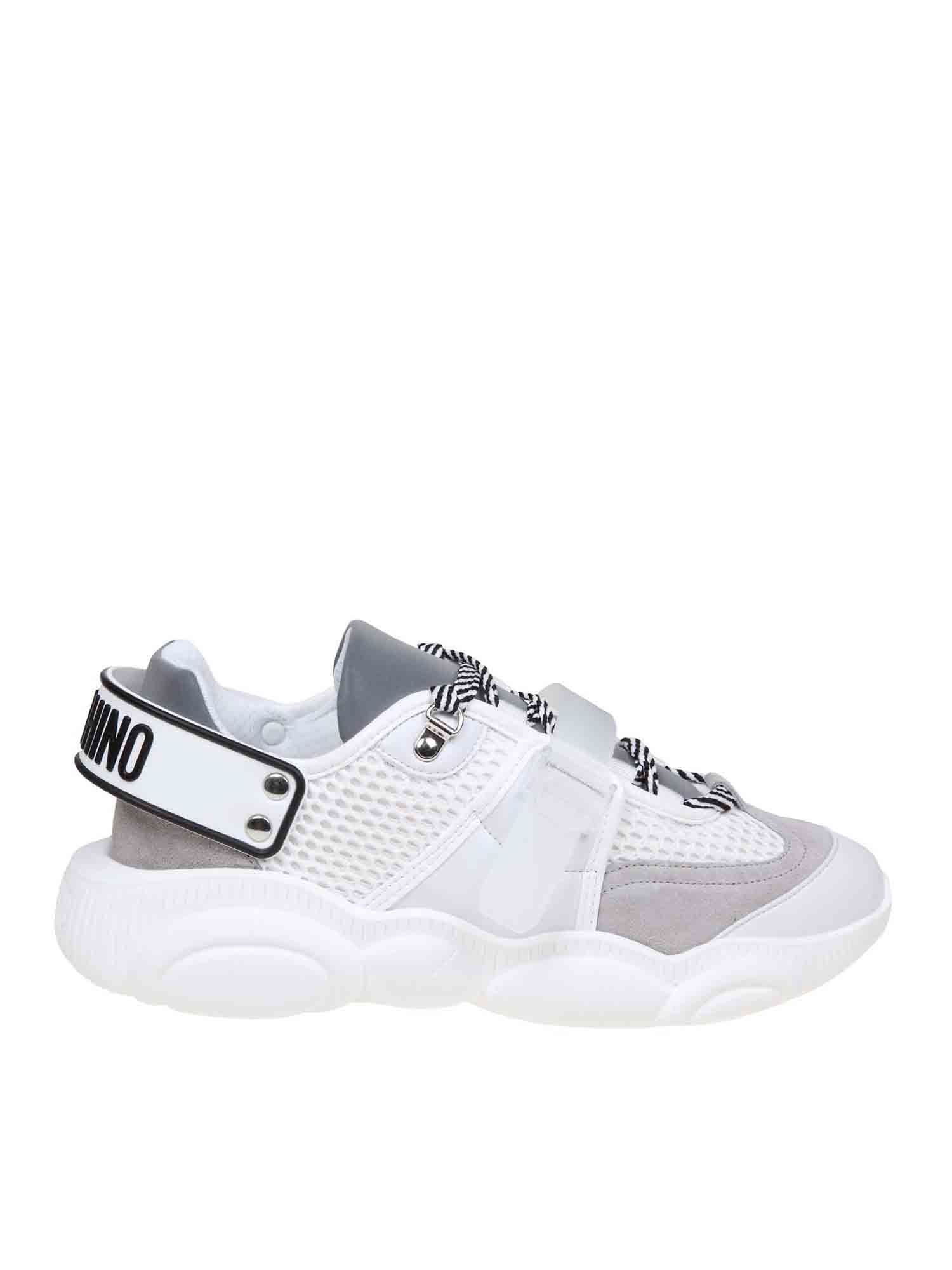 Moschino TEDDY SNEAKERS IN WHITE AND GRAY