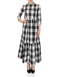 Woolrich - Long checked dress in shades of blue
