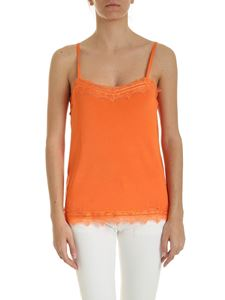 be Blumarine - Lace trim knitted top in orange