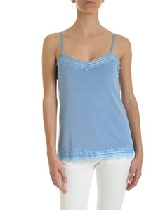 be Blumarine - Lace trim knitted top in light blue
