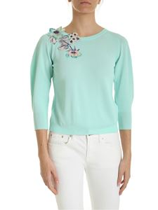 Blumarine - Floral embroidery pullover in aquamarine color