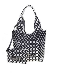 Kenzo - Shopping bag in black and white geometric pattern