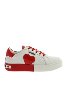 Love Moschino - Bicolor sneakers in white and red with logo