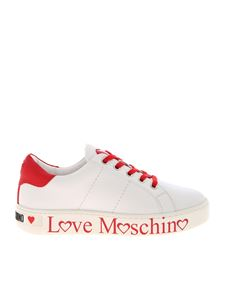 Love Moschino - Logo print sneakers in white and red