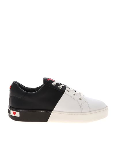 Love Moschino - Bicolor sneakers in white and black with logo