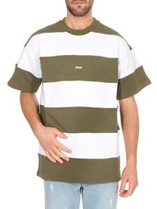 MSGM - Striped short sleeve sweatshirt in green and white