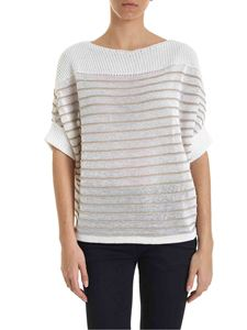 Lorena Antoniazzi - Beige striped pullover in ivory color