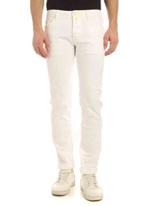 Jacob Cohën - Neon yellow stitching jeans in white