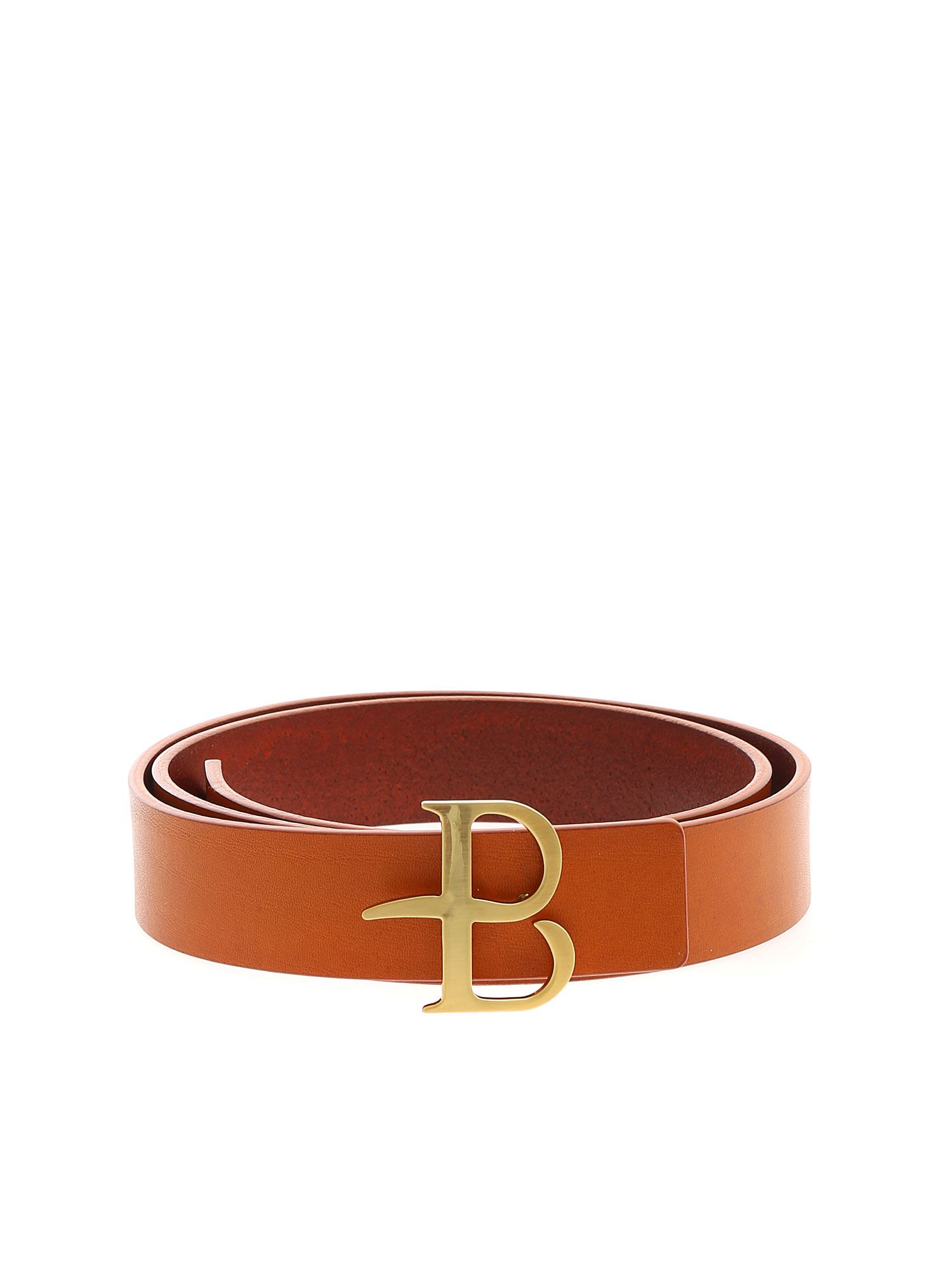 Ballantyne BELT IN ORANGE WITH GOLDEN LOGO BUCKLE