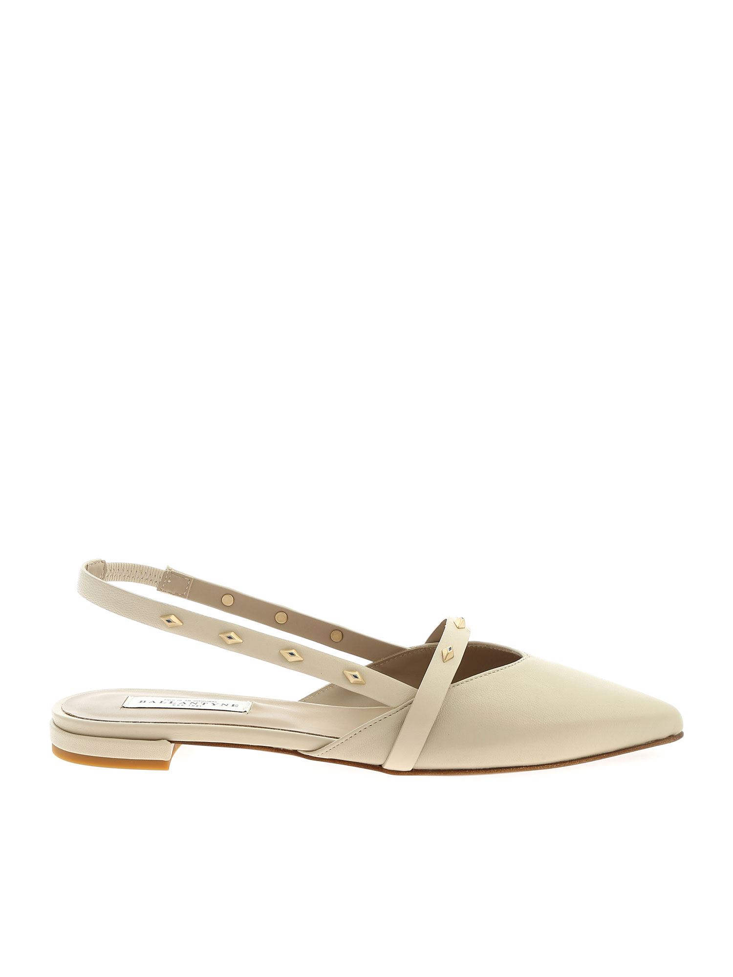Ballantyne FOSSIL SLINGBACKS WITH STUDS IN IVORY