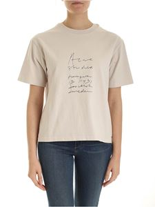 Acne Studios - Embroidered logo t-shirt in beige