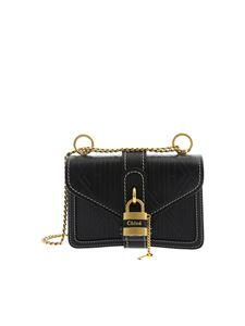 Chloé - Aby blue mini bag with all over embossed logo