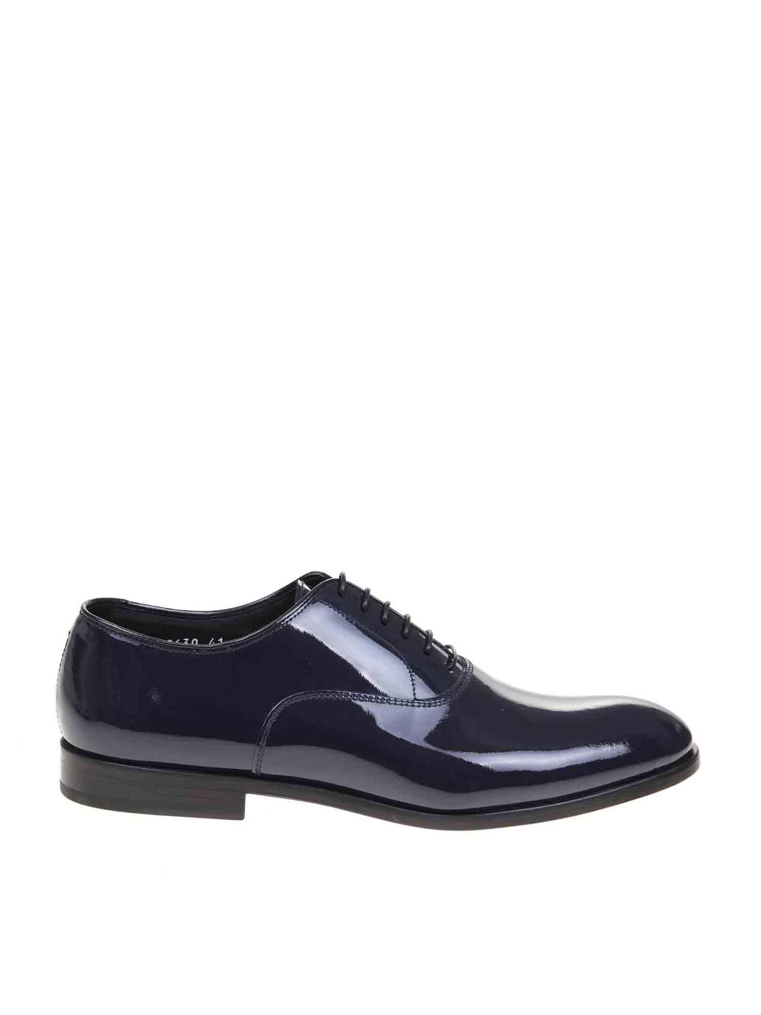 Doucal's Brogues OXFORD IN SHINY BLUE LEATHER