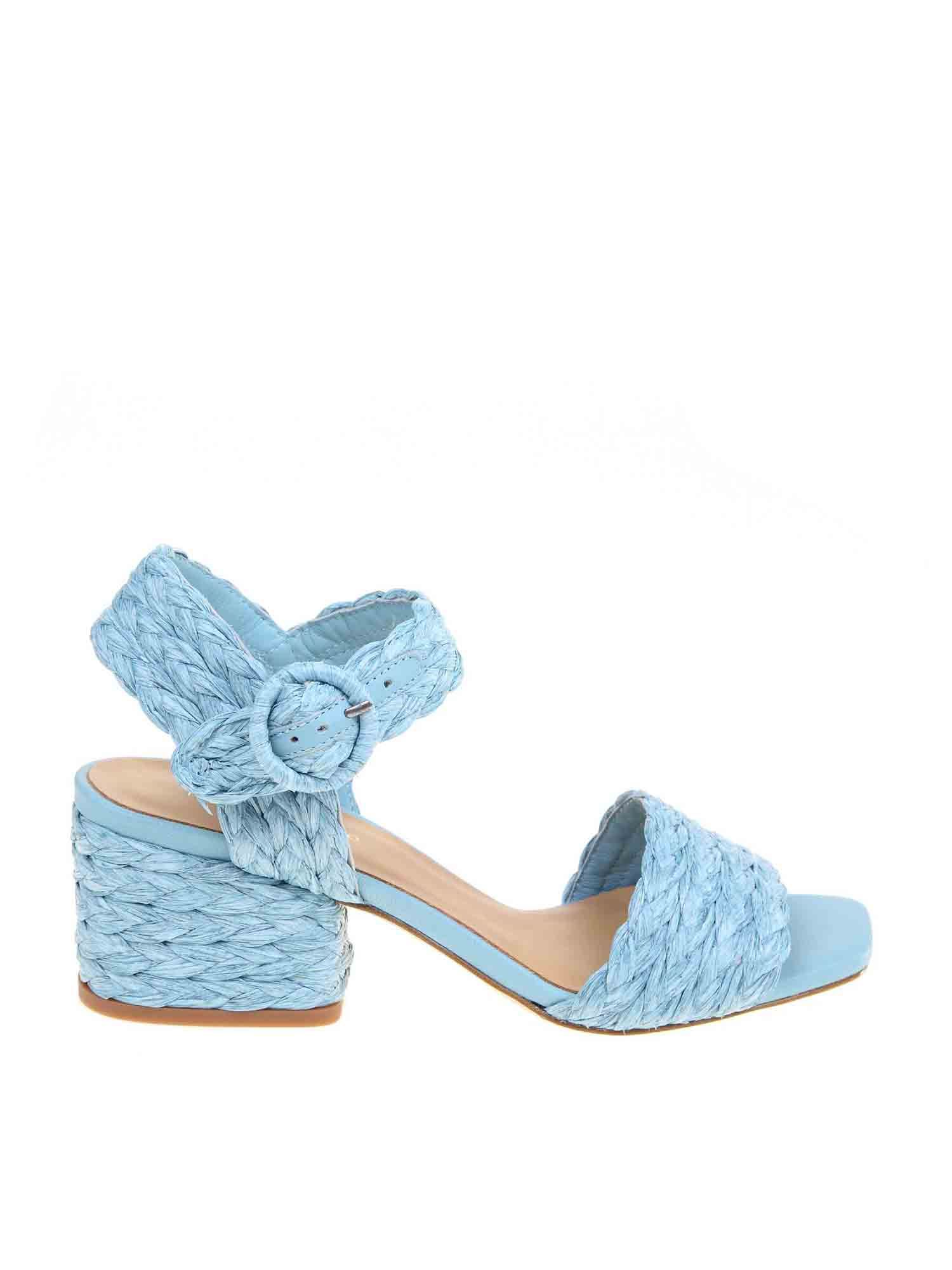 Paloma Barceló RAFFIA SANDALS IN TURQUOISE