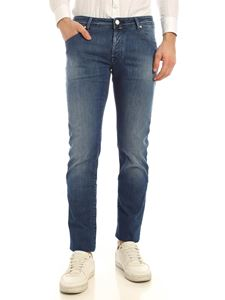 Jacob Cohën - Jeans blu con logo color crema