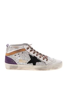 Golden Goose - Mid Star white leather sneakers with glitter