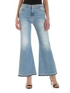 7 For All Mankind - HW Flare Crop Unrolled jeans in light blue