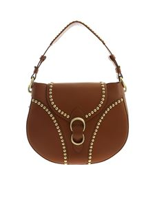Orciani - Shoulder bag in tan color with golden studs