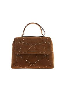 Orciani - Sveva leather bag with silver studs in brown